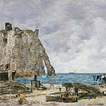 Eugène-Louis Boudin, French, 1824-1898 -- Beach at Étretat, Philadelphia Museum of Art