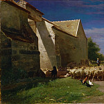 Charles-Émile Jacque, French, 1813-1894 -- Sheep Leaving a Farmyard, Philadelphia Museum of Art