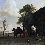 Paulus Potter, Dutch , 1625-1654 -- Figures with Horses by a Stable, Philadelphia Museum of Art