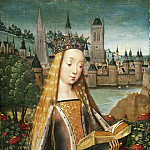 Master of the Legend of Saint Lucy, Netherlandish , active c. 1470-c. 1500 -- Saint Catherine of Alexandria, with the Defeated Emperor, Philadelphia Museum of Art