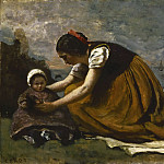 Jean-Baptiste-Camille Corot, French, 1796-1875 -- Mother and Child on a Beach, Philadelphia Museum of Art