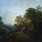 Landscape with Rustic Lovers, Two Cows, and a Man on a Distant Bridge, Thomas Gainsborough