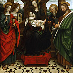 Philadelphia Museum of Art - Defendente Ferrari, Italian (active Piedmont), dated works 1510-1535 -- Enthroned Virgin and Child, with Saints John the Evangelist, Catherine of Alexandria, and Anthony Abbot, and a Saint Reading a Book