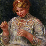 Pierre-Auguste Renoir, French, 1841-1919 -- Girl Tatting, Philadelphia Museum of Art