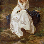 Philadelphia Museum of Art - Wilhelm Amberg, German, 1822-1899 -- Young Woman Seated by a Stream (Contemplation)