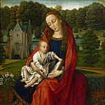 Master of the Embroidered Foliage, Netherlandish , active c. 1490-c. 1520 -- Virgin and Child in a Landscape, Philadelphia Museum of Art