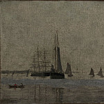 Thomas Eakins, American, 1844-1916 -- Ships and Sailboats on the Delaware, Philadelphia Museum of Art