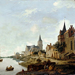 Part 3 Louvre - Jan van der Heyden, figures by Johannes Lingelbach -- The Rhine in Emmerich (Germany) with the Church of Saint Martin