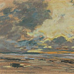 Setting Sun, or Orange Sky (Soleil couchant, ou ciel d'orange), Eugene Boudin