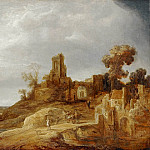 Govaert Flinck -- Landscape with a River and Ruins, Part 3 Louvre