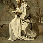 Monk in white, sitting, reading, Jean-Baptiste-Camille Corot