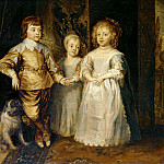 Part 3 Louvre - Dyck, Anthonis van -- (School) The children of Charles I of England; english copy of the 18th? Wood, 47, 3 x 57, 3 cm INV 1237