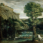 Domenichino -- Landscape with Hercules fighting Achelous changed into a bull, Part 3 Louvre