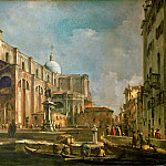 Francesco Guardi -- Campo Santi Giovanni e Paolo with the Scuola di San Marco and the Colleoni Monument by Verrocchio, Part 3 Louvre