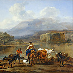 Nicolaes Berchem the Elder -- Landscape with Herd, Part 3 Louvre