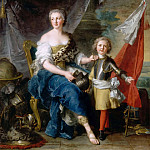 Jean-Marc Nattier -- Mademoiselle de Lambesc of the House of Lorraine, as Minerva, arming her brother, the Comte de Brionne, and directing him to the arts of war, Part 3 Louvre