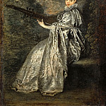 Part 3 Louvre - Watteau, Antoine -- La Finette, companion picture to L'indifferent, 40-11-1/21. Wood, 25, 5 x 19 cm M.I. 1123