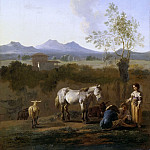 Karel Dujardin -- White horse in an Italian landscape, Part 3 Louvre