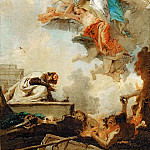 Tiepolo, Giovanni Battista -- La Vierge du Carmel apparaissant a Saint Simeon Stock. Lived in Kent as a hermit in a tree-trunk, hence the name. General of the Carmelite order 1265. Apparition of the Virgin 1251 . She gave him a scapula and promised, that every wearer would be assured of salvation. Canvas, 1720-22 RF 1983-44, Part 3 Louvre