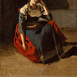Italian woman seated, leaning on her knees, Jean-Baptiste-Camille Corot