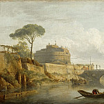 Claude-Joseph Vernet -- Bridge and Chateau Sant Angelo in Rome, Part 3 Louvre