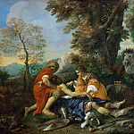 Pier Francesco Mola -- Hermione and Valfrino care for the wounded Tancred after the fight of Argante, Part 3 Louvre