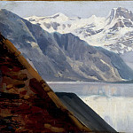 Achille Etna Michallon -- Lake and mountains, Part 3 Louvre