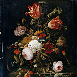 Abraham Mignon -- Flowers in a crystal vase, with pea branch and snail, Part 3 Louvre