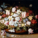 Osias Beert the Elder -- Basket of Flowers, Part 3 Louvre