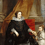Anthony van Dyck -- Portrait of a lady of quality and her son, Part 3 Louvre