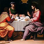 Ridolfo Ghirlandaio -- Triptych of the Resurrection of Christ; detail of left wing, Supper at Emmaus, Part 3 Louvre