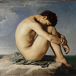 Hippolyte-Jean Flandrin -- Nude Youth Sitting by the Sea, study of a figure, Part 3 Louvre
