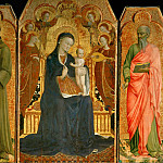 Part 3 Louvre - Sassetta (c. 1400-1450) -- Virgin and Child with Six Angels, and Saint Anthony of Padua (left) and John the Baptist (right)