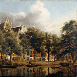 Jan van der Heyden, figures by Adriaen van de Velde -- View of the Heerengracht, Amsterdam, Part 3 Louvre