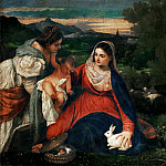 Titian -- Virgin and Child with Saint Catherine and a Shepherd, called the Virgin with a Rabbit, Part 3 Louvre