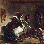 Arab horses fighting in a stable, Ferdinand Victor Eugène Delacroix