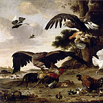 Melchior de Hondecoeter -- Eagles Attacking Chickens, Part 3 Louvre
