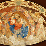 Raphael -- Workshop of Raphael. God Father. Mural, transposed on canvas. Originally from a semi-circular niche from the Chapel in the papal residence at Magliana. 140 x 283 cm RF 48, Part 3 Louvre