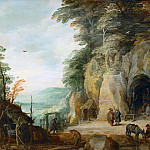 Joos de Momper the younger -- A Monk's Hermitage in the Rocks, Part 3 Louvre