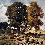 Charles Émile Jacque -- Sheep Grazing, Part 3 Louvre