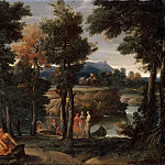 Giovanni Francesco Grimaldi -- Landscape with People in Antique Costumes near a River, Part 3 Louvre