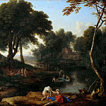 Laurent de La Hyre -- Landscape with Bathers, Part 3 Louvre