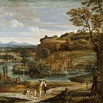 Part 3 Louvre - Domenichino -- Landscape with washerwomen and a child stunned with wine