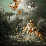 Boucher, Francois -- La cible d'amour-The target of love, 1758. Canvas, 268 x 167 cm INV.2715, Part 3 Louvre