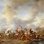 Philips Wouwerman -- Grand Combat of the Cavaliers, Part 3 Louvre