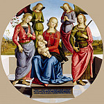 Attributed to Perugino -- Virgin and Child accompanied by two angels, Saint Rose and Saint Catherine of Alexandria, Part 3 Louvre