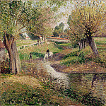 Watering hole, Éragny, Camille Pissarro