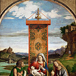 Giovanni Battista Cima da Conegliano -- Madonna and Child between Saints John the Baptist and Mary Magdalene, Part 3 Louvre
