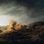 Landscape with a arch bridge, Govert Teunisz Flinck