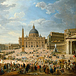 The exit of the Duc de Choiseul in Saint Peters Square in Rome, Giovanni Paolo Panini